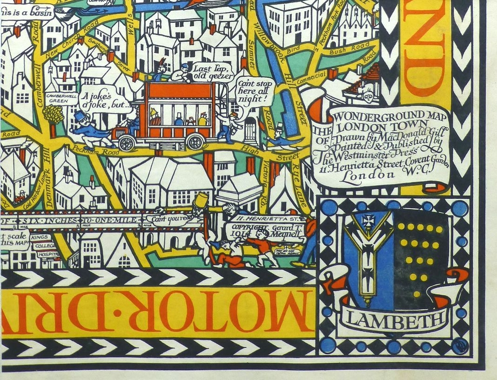 Detail from a section of the Wonderground Map of London 1914 by MacDonald Gill