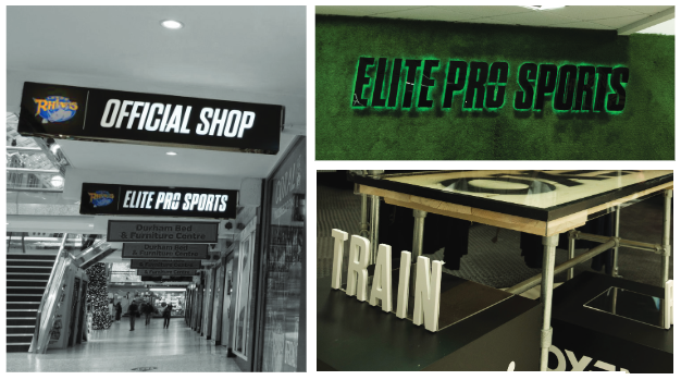 Composite image showing three different forms of signage as part of the Elite Pro Sports signage rebranding project by Visual Group
