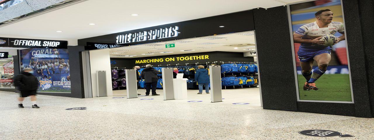External image of Elite Pro Sports shop showing signage by Visual Group