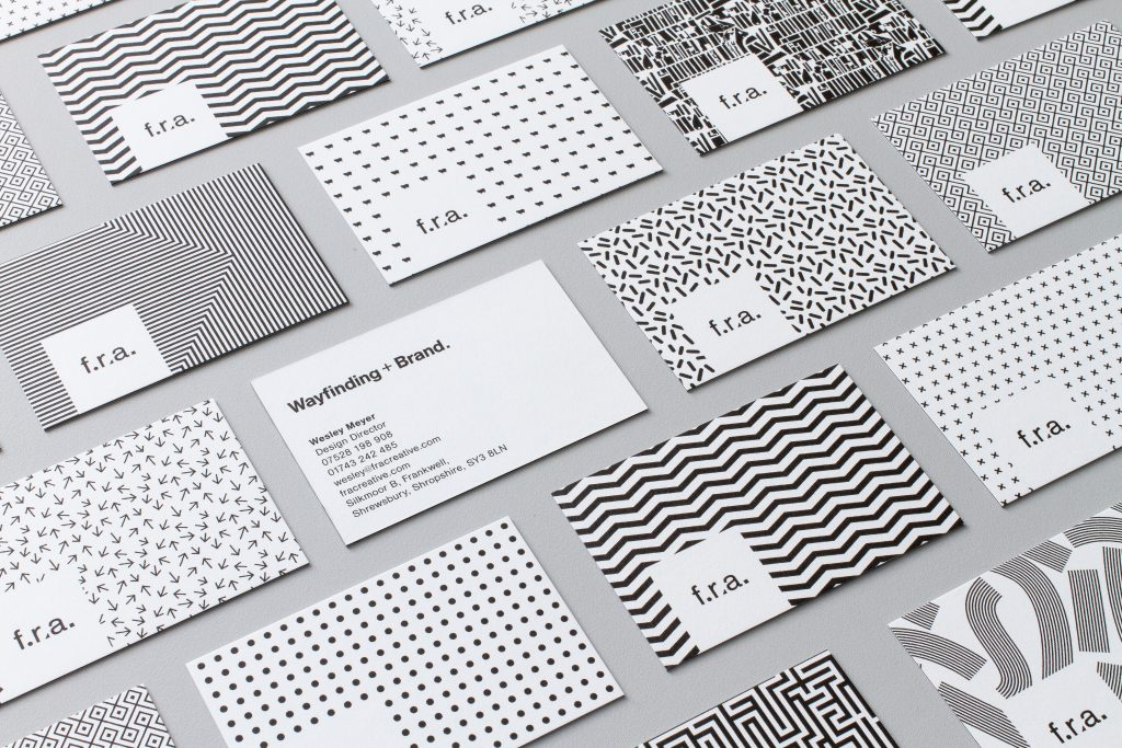 View of different f.r.a. business cards (black & white photo)
