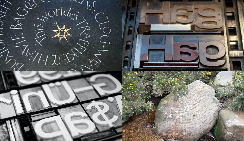Four images showing examples of lettering