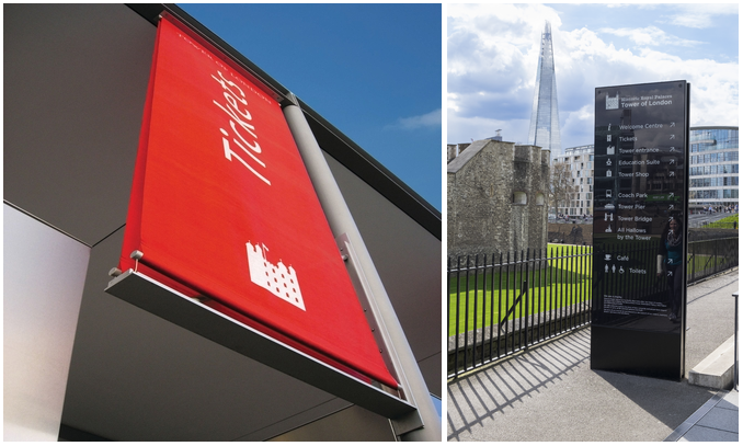 Composite image showing signage for Tower of London by ABG Design