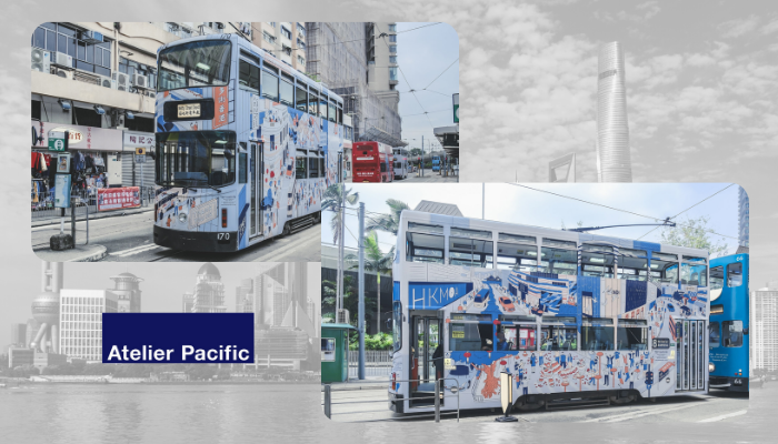 Examples of Atelier Pacific designed trams for Hong Kong Tramways (as part of their 25th anniversary of having a studio there)