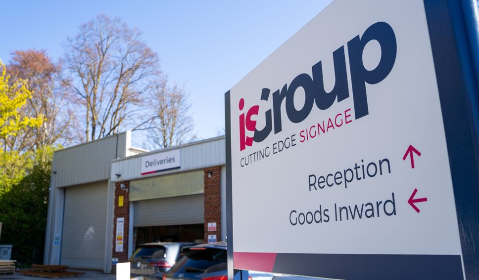 External view of isGroup with branded signage to the right
