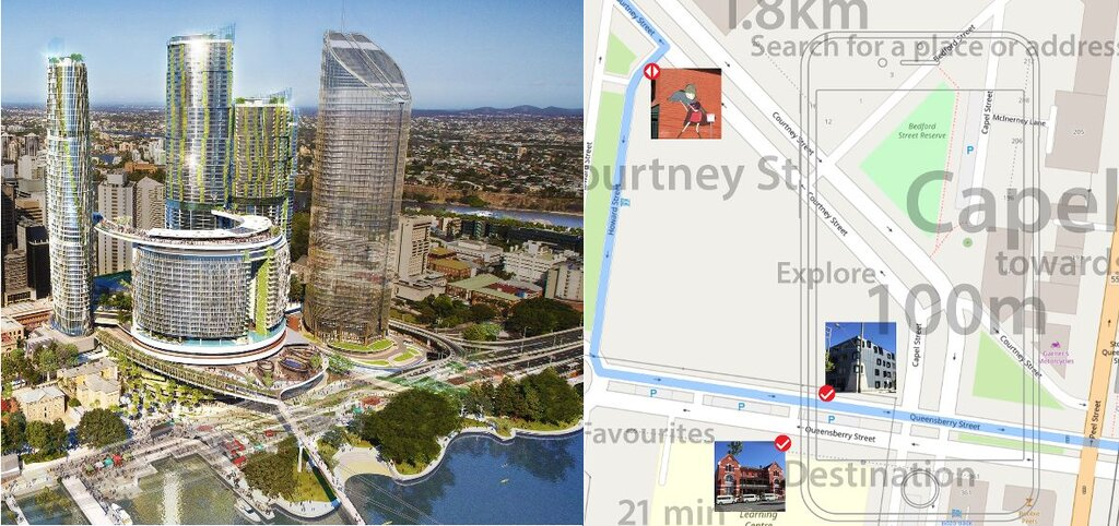 Composite showing arial view of Brisbane and Google map section of Melbourne city centre